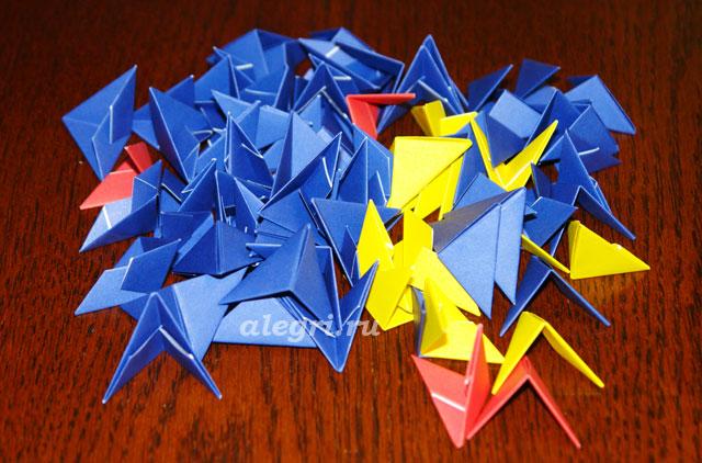 Возьмите 36 синих модулей для