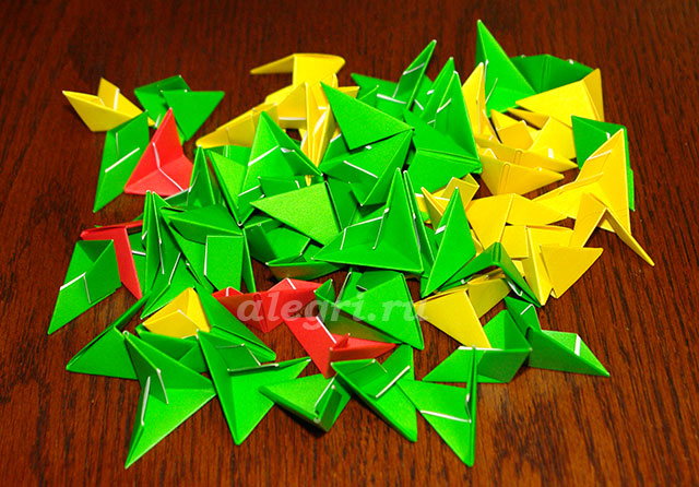 Возьмите 3 зеленых модуля,