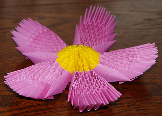 Лотос из модуля оригами схема