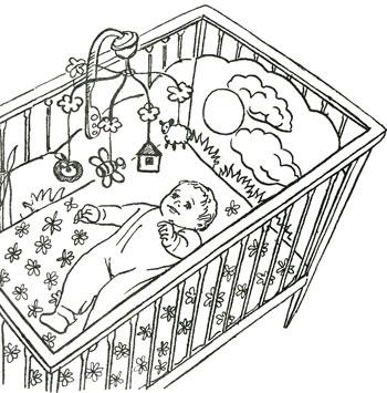 Как нарисовать ребёнка в кроватке