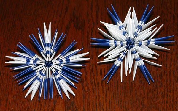 Снежинки оригами на новый год своими руками
