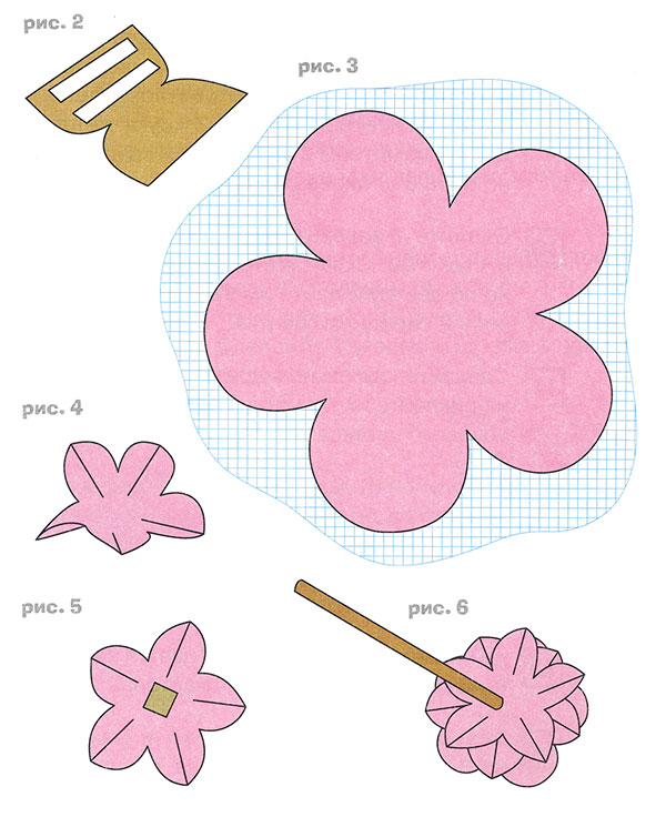 Объёмные цветы из бумаги своими руками схемы