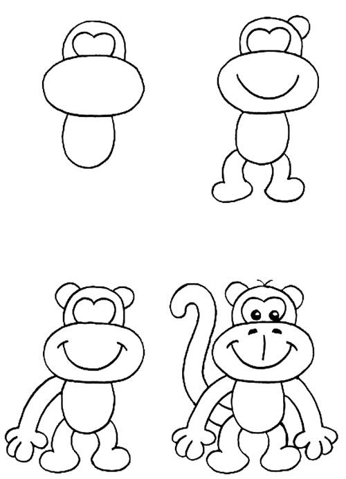 Раскраски обезьяна нарисованная