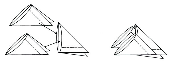 Схема сборки для модульного оригами.