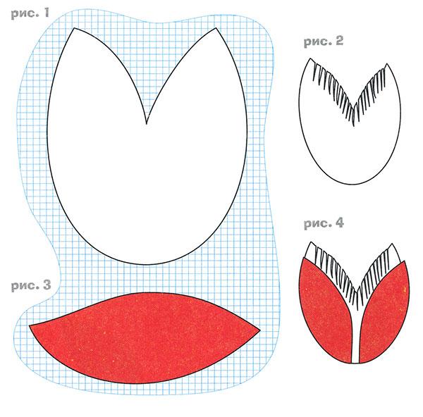 Объёмная аппликация из бумаги Тюльпаны для детей