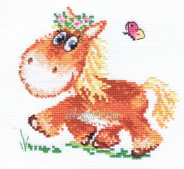 Вышивка крестом лошадки детские схемы