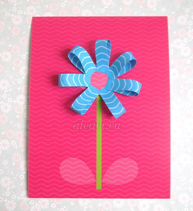 Открытка из цветной бумаги с цветами 64