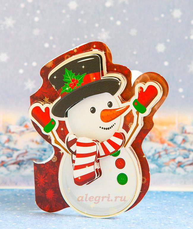 Открытка со снеговиком 1