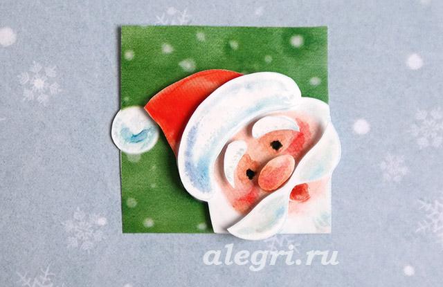 Новогодние открытки-дед мороз своими руками 11