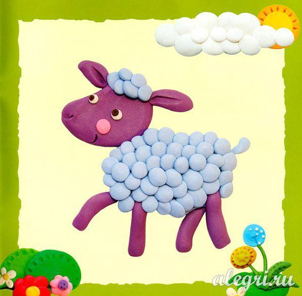 Как сделать овечку из пластилина видео