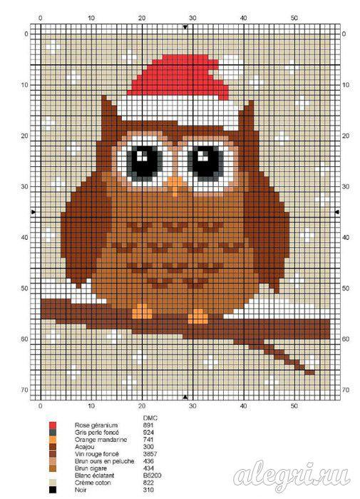 Вышивание крестиком схема совы