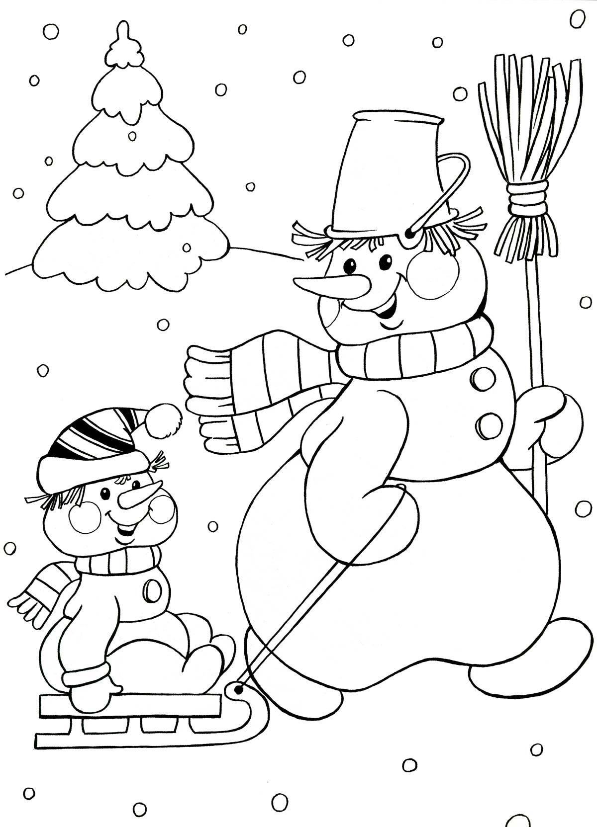 Раскраска а4 снеговика