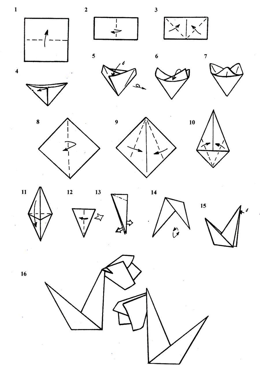 Схема для изготовления подснежника из бумаги.