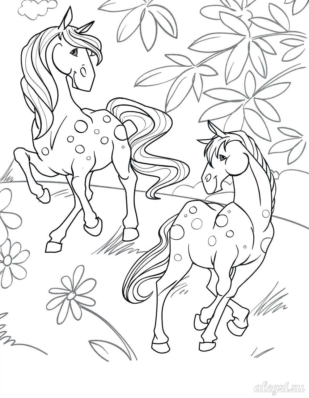 лошади с жеребятами раскраски