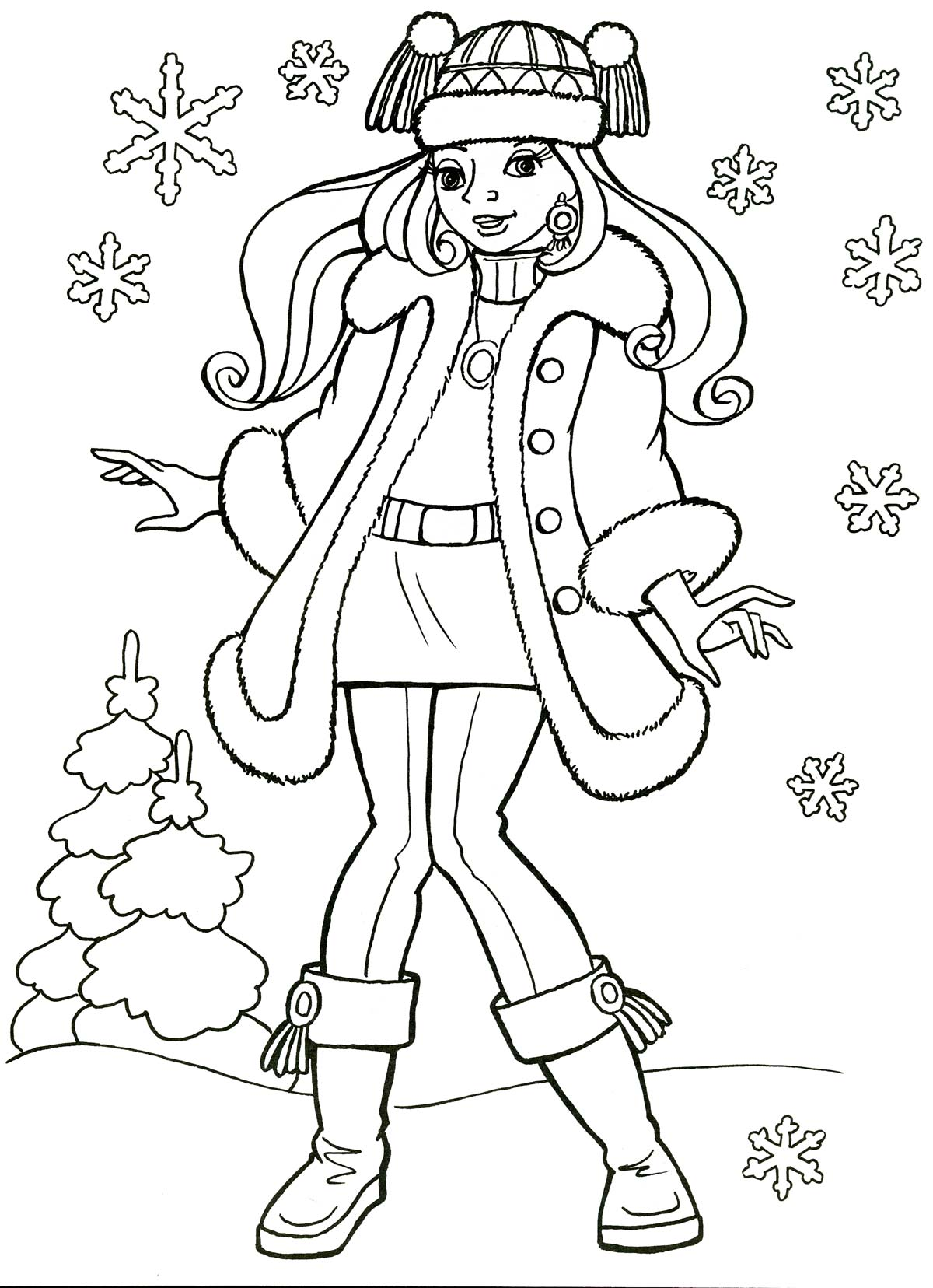 Раскраски девочкам зимние