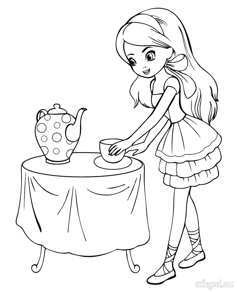 Раскраски девочка с подарком 91