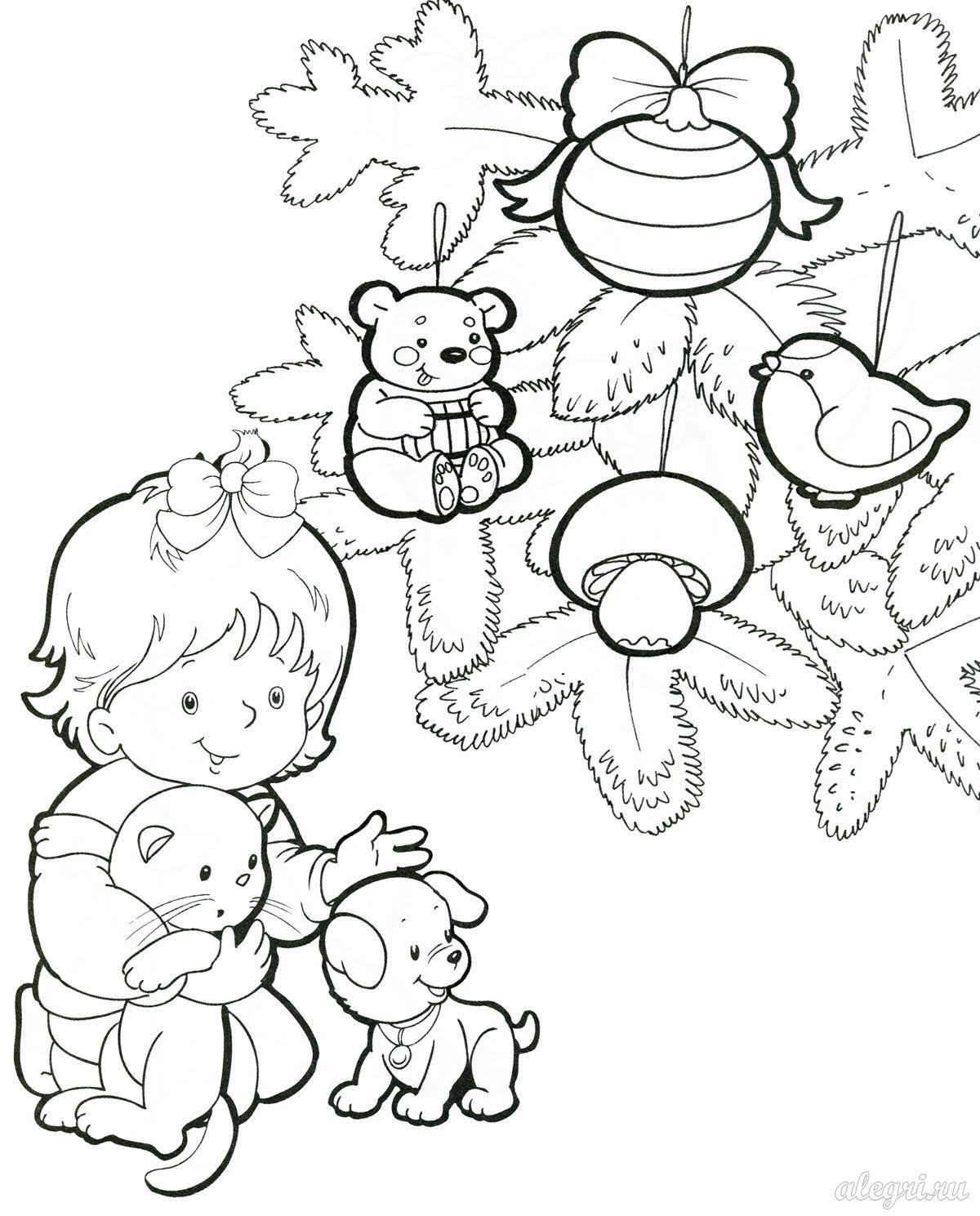 Раскраска елка новогодняя с игрушками