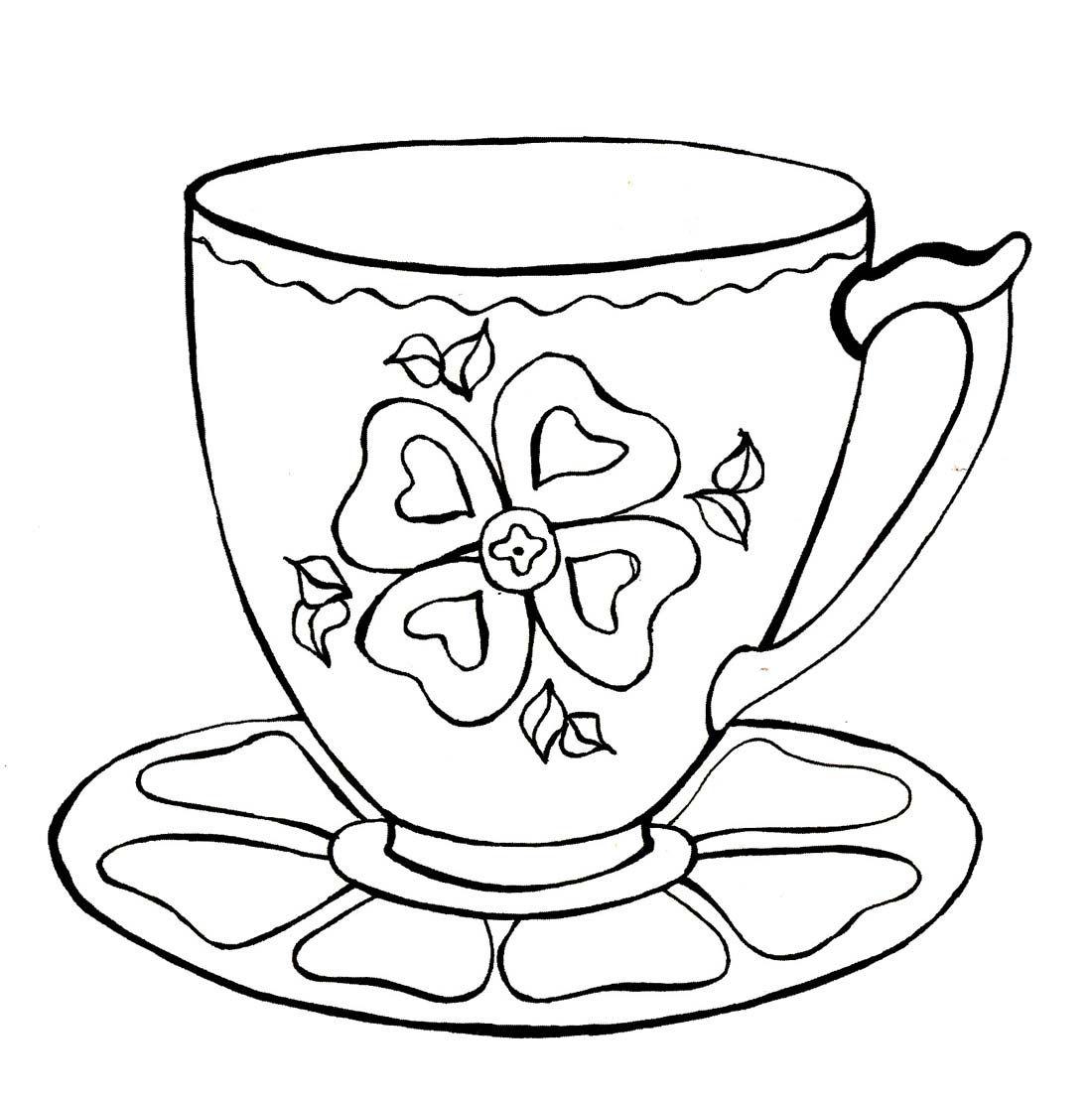 Раскраски чашки с блюдцем