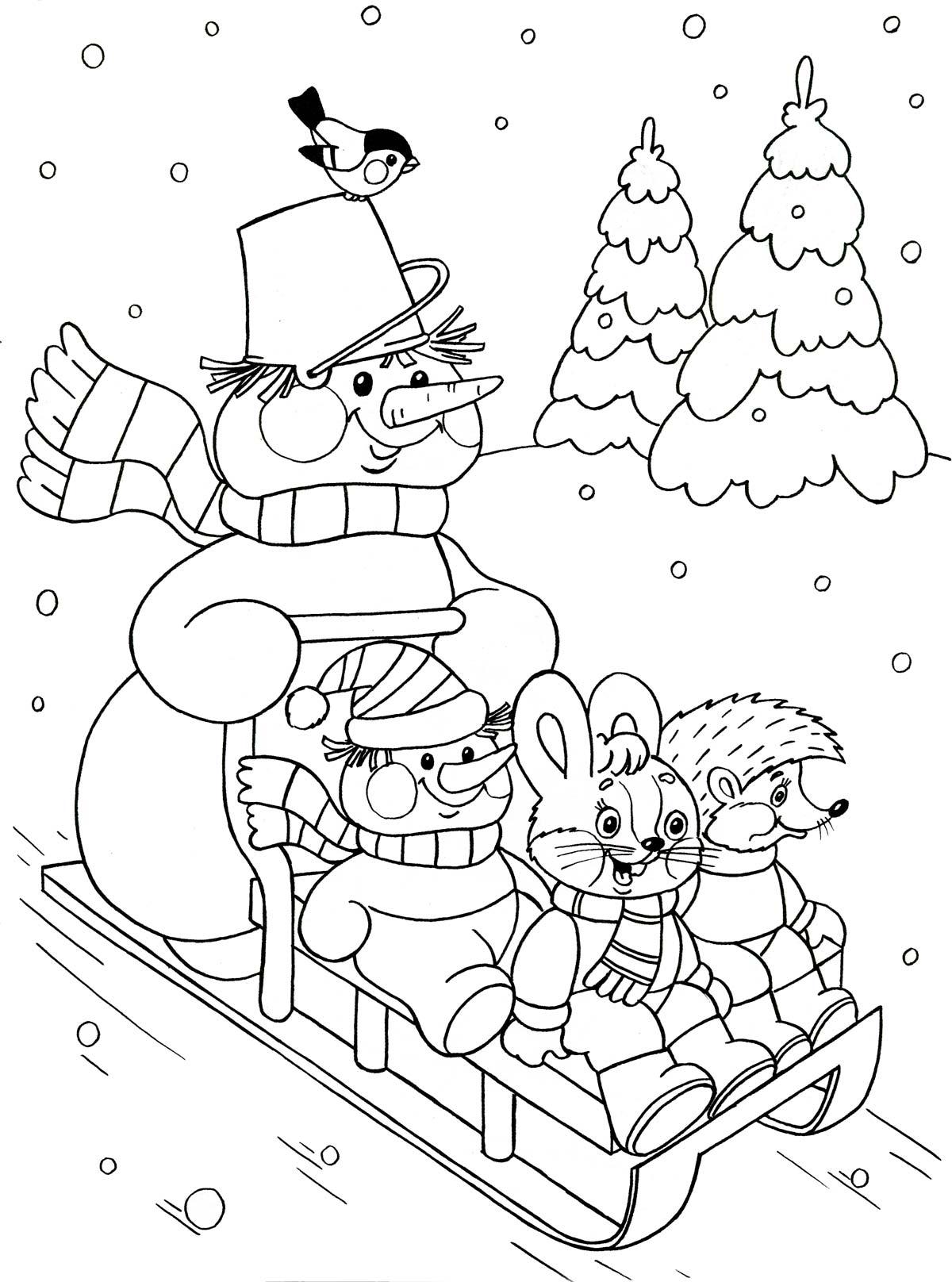 kleurplaat op de slee voor kleuters thema winter