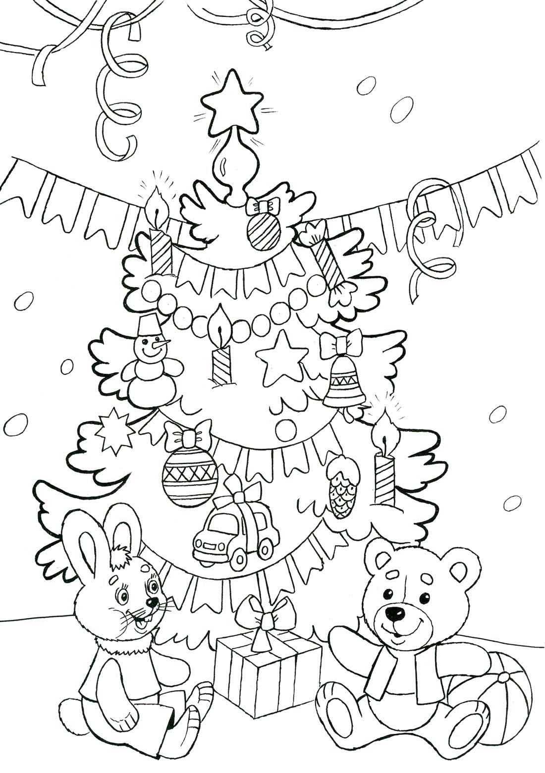 Раскраска распечатать для детей новогодние