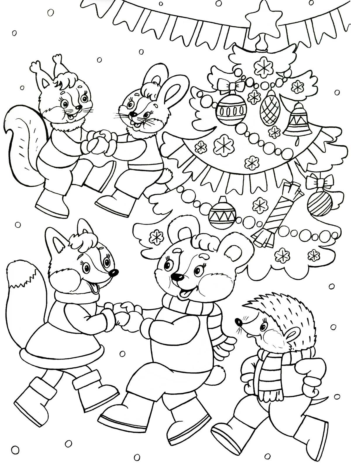 Раскраски на новый год для детей 6-7