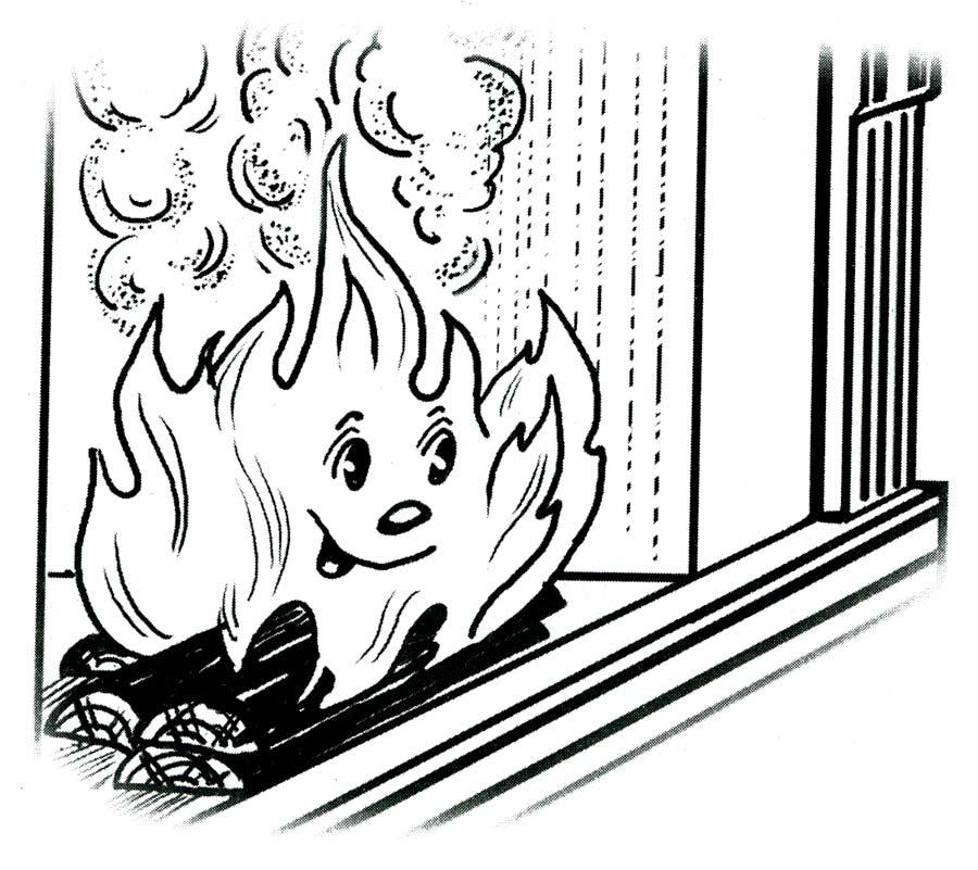 Раскраски дети и огонь