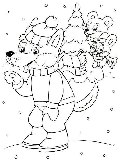 Раскраски детей волк