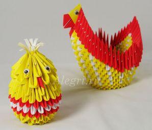 Модульное оригами. Курочка и цыплёнок