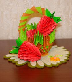 Модульное оригами. Клубника. Мастер-класс