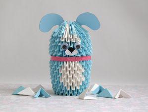 Модульное оригами Собака. Схема сборки. Пошаговая инструкция с фото