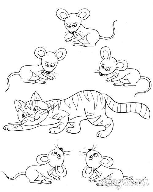 Раскраска для детей. Кошка и мыши