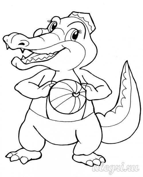 Раскраска. Крокодил с мячом