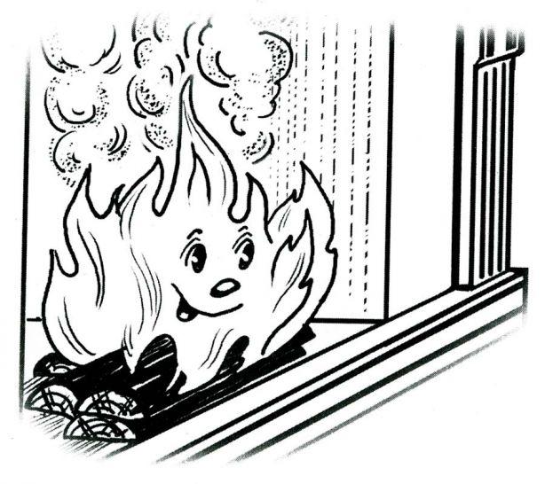 Огонь для детей раскраска