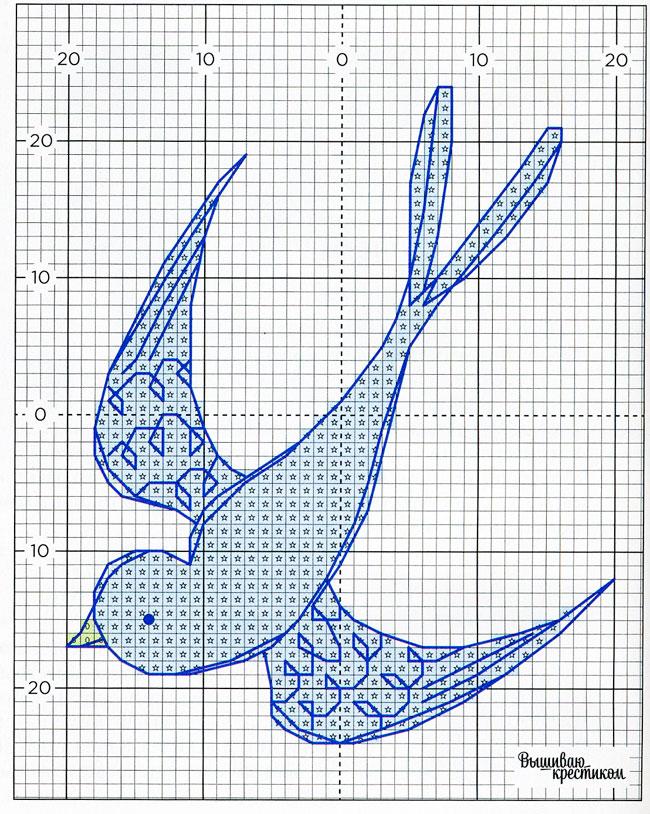 Схема вышивки Ласточка