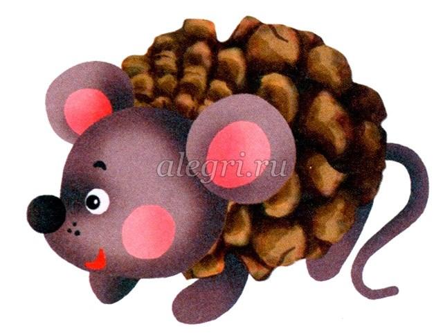 Мышка из сосновых шишек